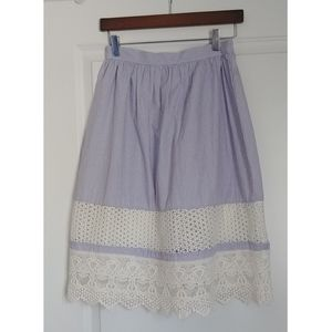 French Connection Mixed Lace Hem Skirt